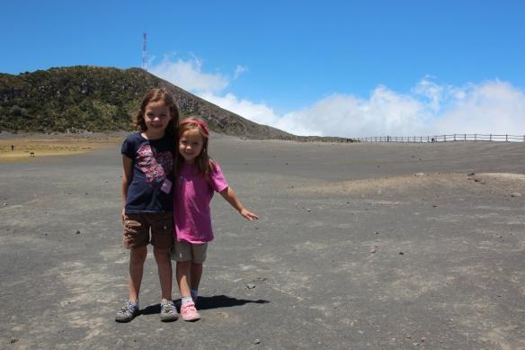 Annie and Sarah posing near the rim