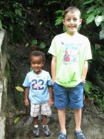 Oliver and David enjoy the jungle