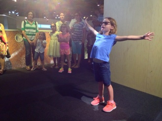 Flying like a bird at the new Perot Museum near downtown.