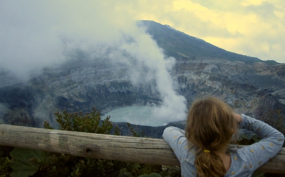 Annie enjoying the view at Volcan Poas.