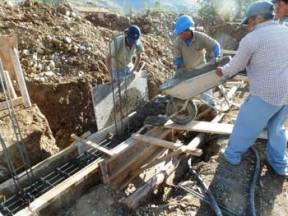Concreting of a foundation beam