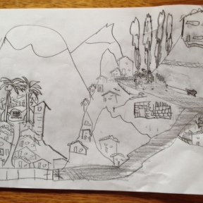 David likes to draw black and white pencil sketches. This is his version of Curahuasi and our house.