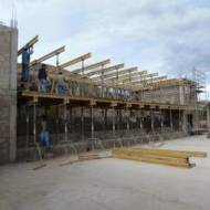 Formwork for the construction of the grandstand roof.