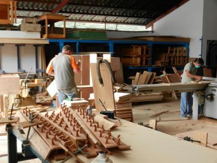 Carpenter Burkhard Jochum on the left