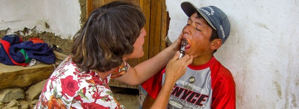Dr. Tina Klaus doing a medical outreach.