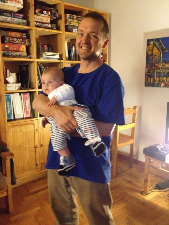 Will holding our neighbor and small group member Noah Lentink.  Aren't they both cute?  Will has not lost his baby touch.  He had lots of practice soothing them.
