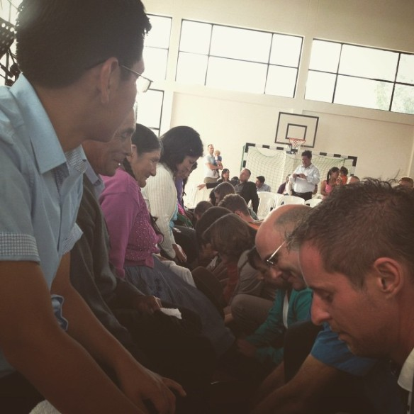 Easter service foot washing.