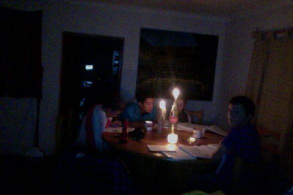 Allison and the kids doing homework.