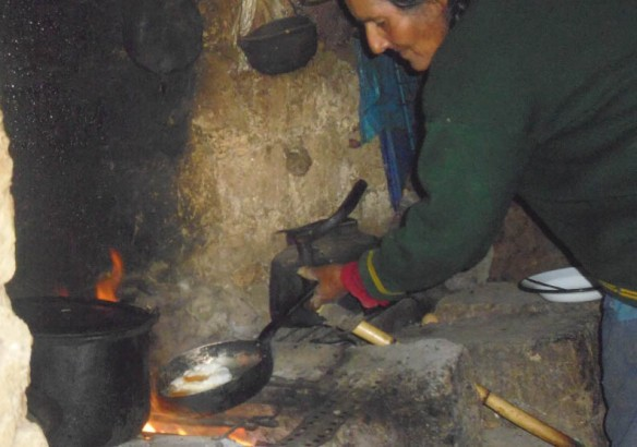 A woman prepares some food.