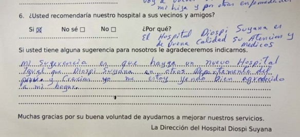 """Endless comments include this message: """"Thank you so much for the Hospital Diospi Suyana""""."""