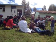 Singing and sharing the gospel.